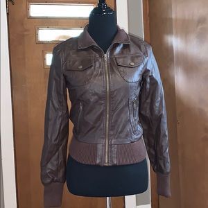 Brown faux-leather bomber jacket, size small